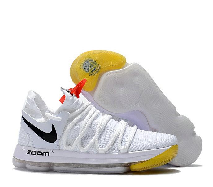 Wholesale Cheap Off-White X Nike KD 10 White/Black/Yellow For Sale-141