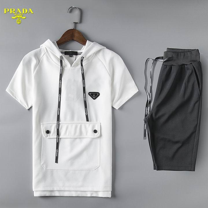 Wholesale Cheap Prada Short Sleeve Tracksuits for Men-053
