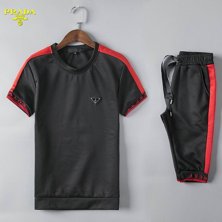 Wholesale Cheap Prada Short Sleeve Tracksuits for Men-056